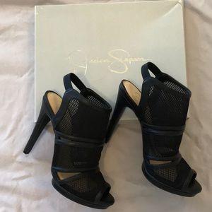 "BRAND NEW Jessica Simpson 5"" black sport mesh heel"